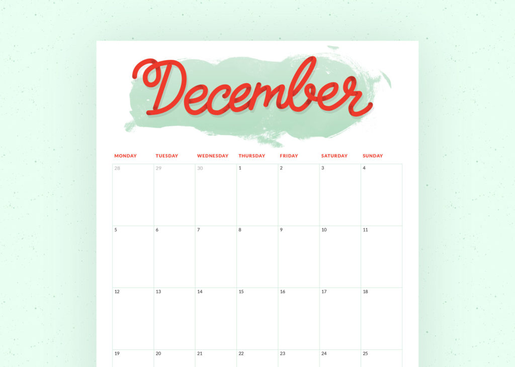 Download your December planner