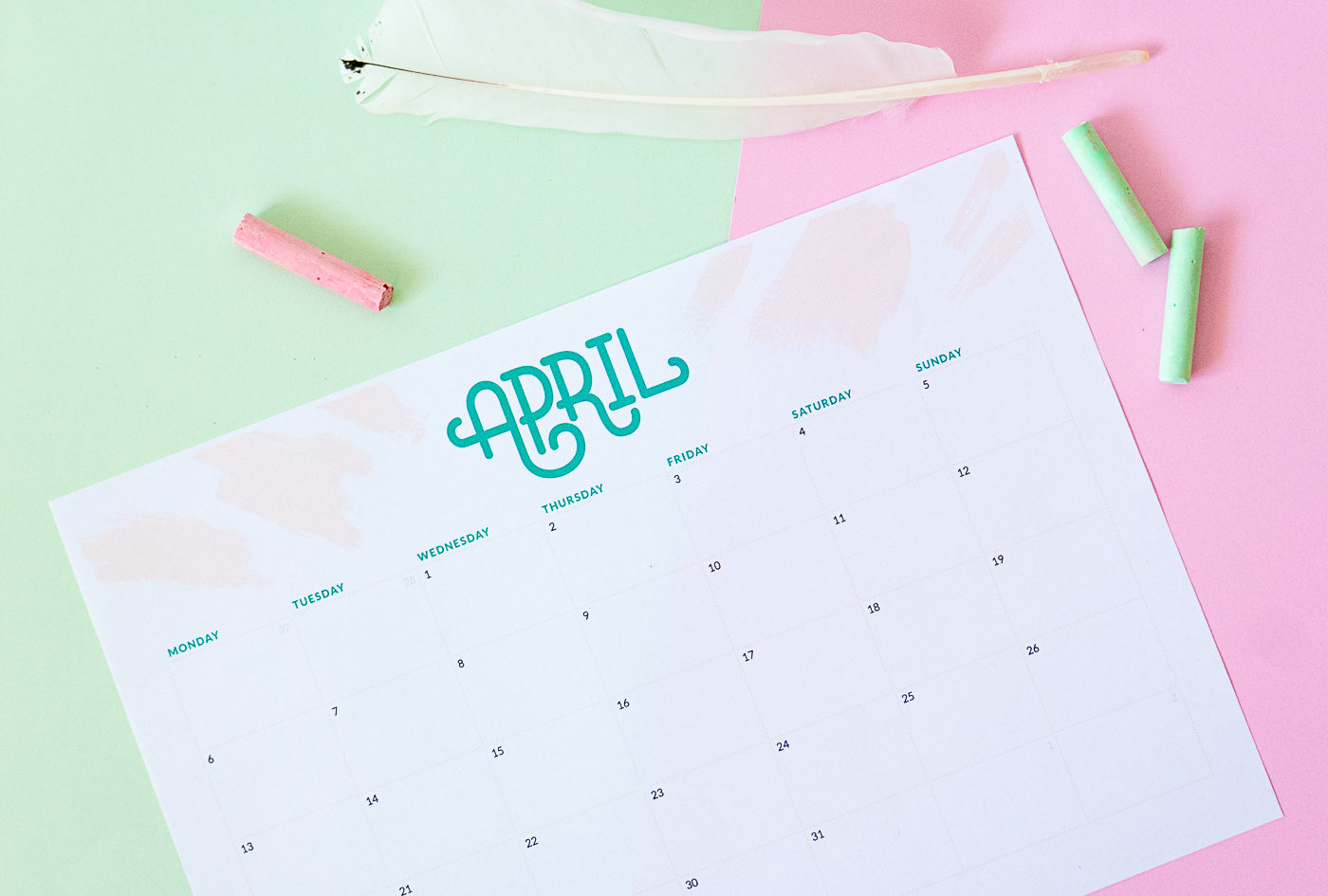 April calendar and planner free printable