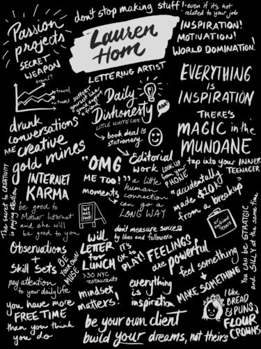 Sketchnotes from Lauren Hom's talk on being a lettering artist