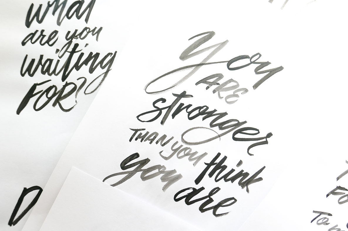 sample of brush lettering