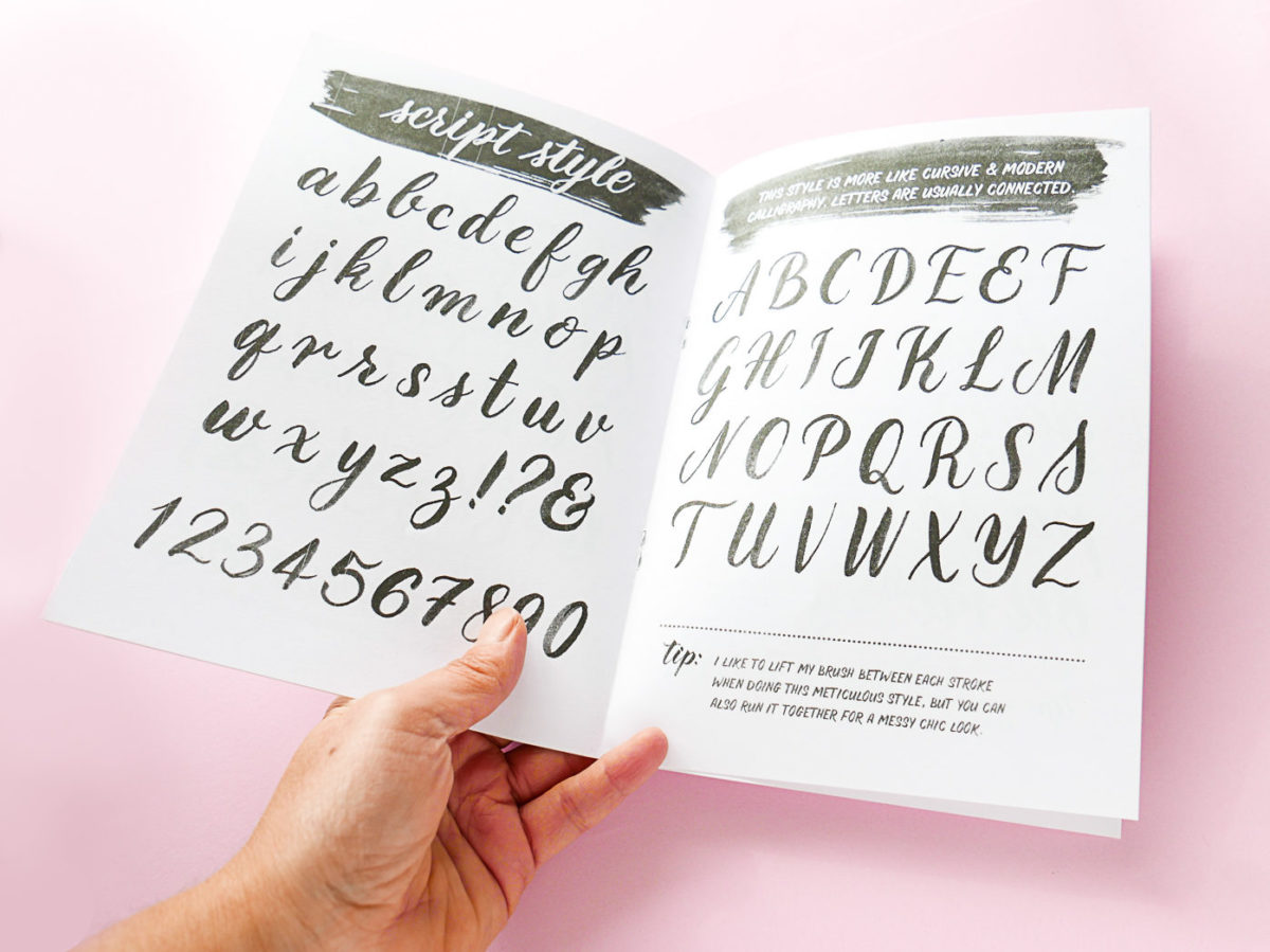 Photo of brush lettering basics zine