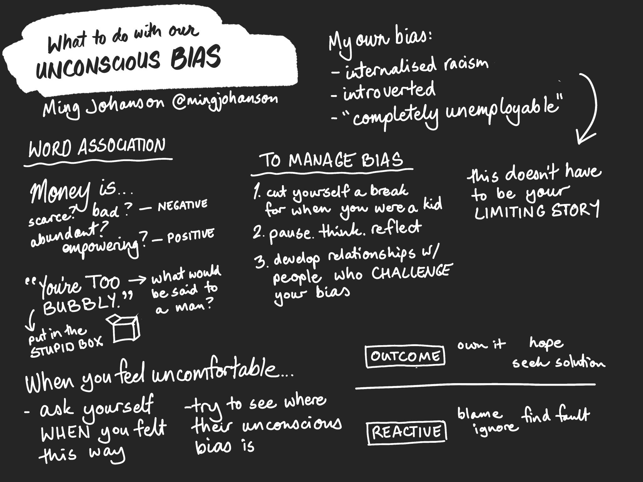 Sketchnote of the talk What to do with our unconscious bias