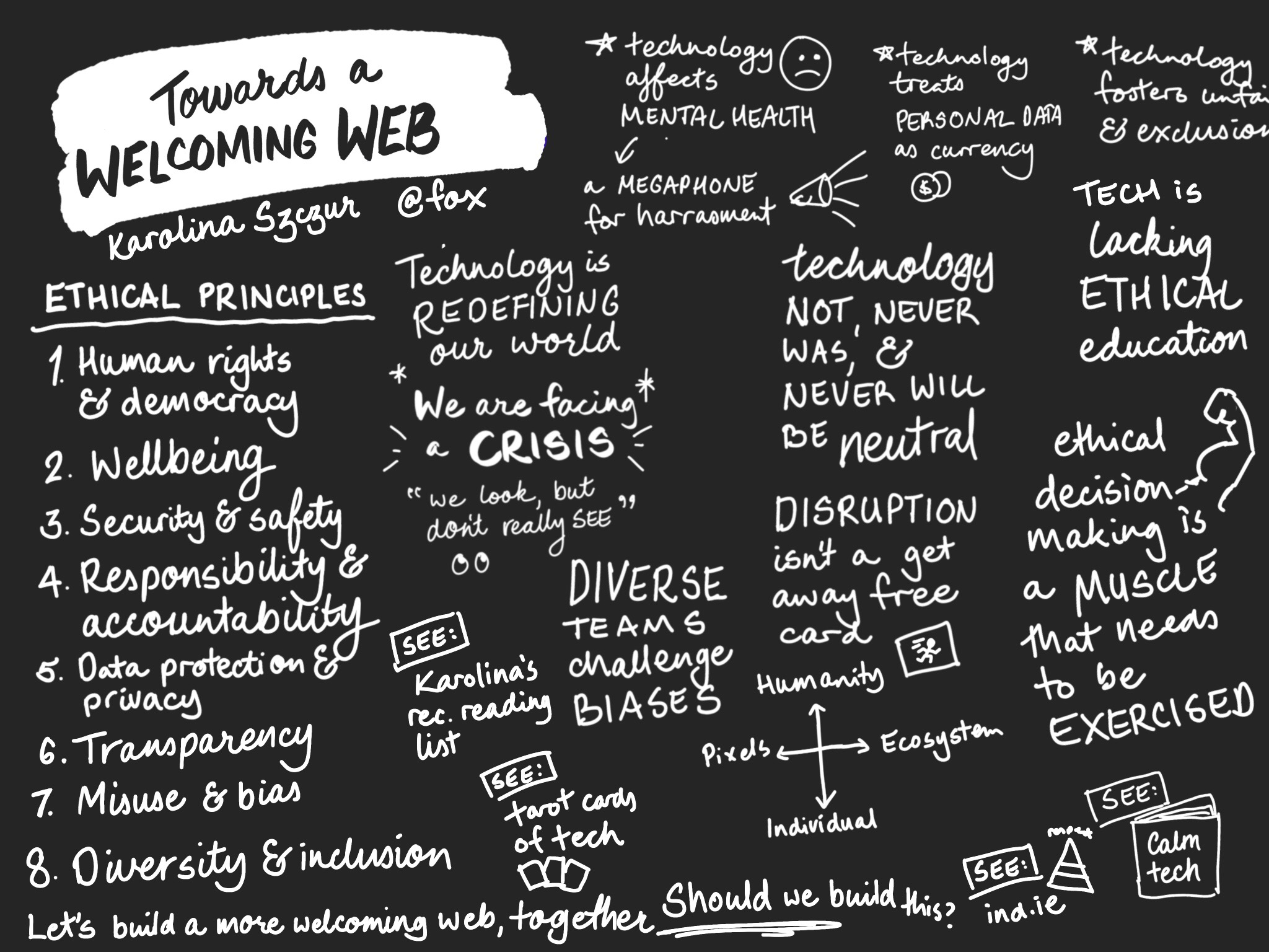 "Sketchnote of the talk ""Towards a Welcoming Web"""