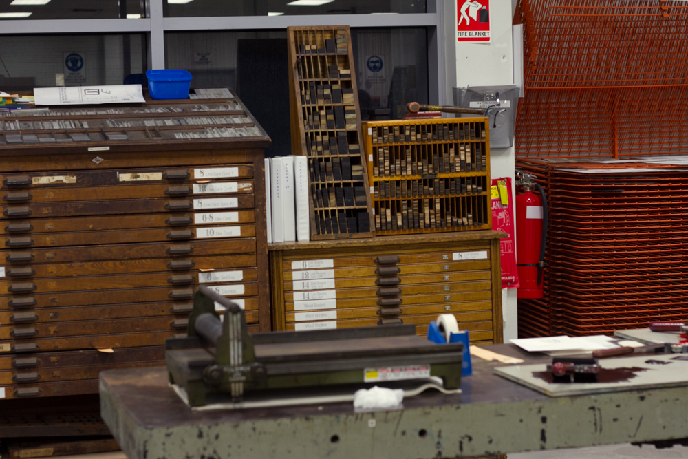 The TAFE letterpress studio - each drawer contains one 'font', in a particular weight and size.