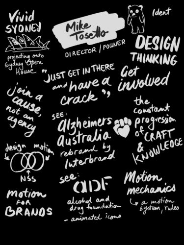 Sketchnotes from Mike Tosetto's talk