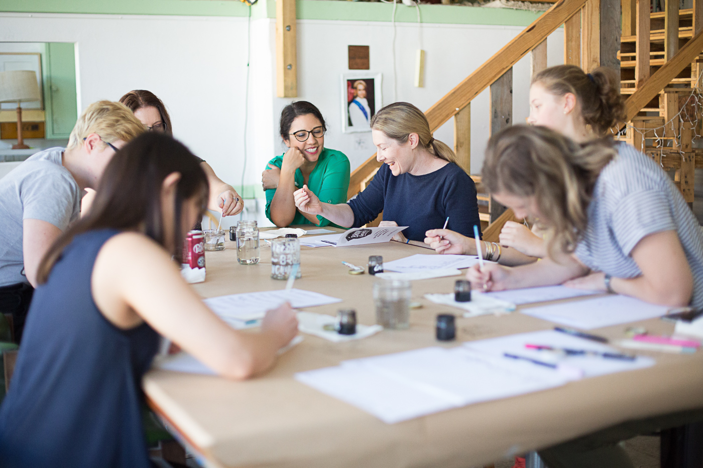 Group of brush basics lettering workshop students