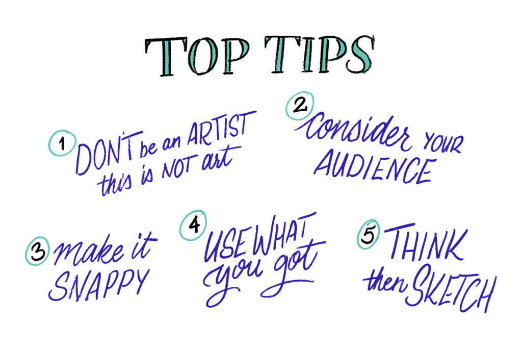 Top tips: 1) Don't be an artist, this is not art. 2) Consider your audience. 3) Make it snappy. 4) Use what you got. 5) Think, then sketch